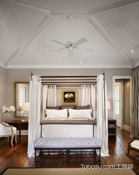 卧室白色吊顶美式风格装修设计图片