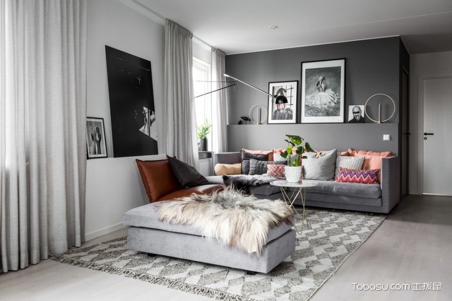 客厅灰色沙发现代风格装潢效果图