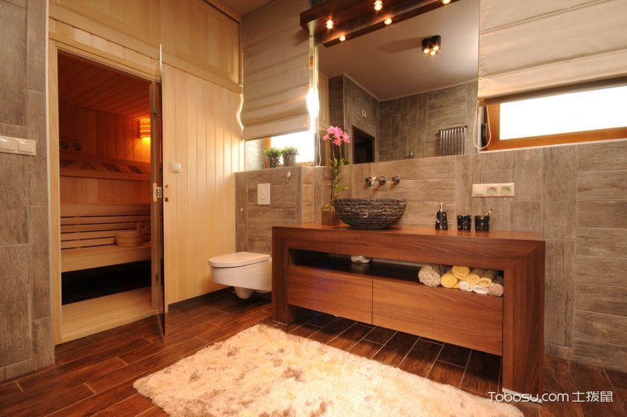 浴室咖啡色洗漱台混搭风格装修设计图片