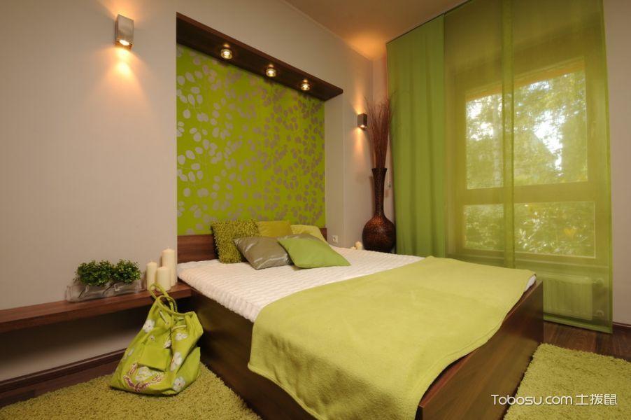 卧室绿色窗帘混搭风格装饰设计图片