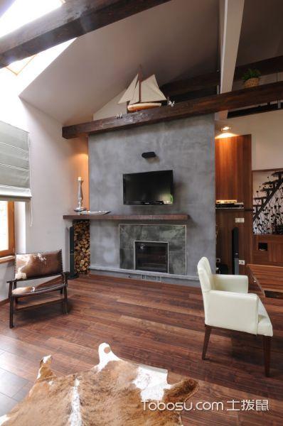 客厅灰色背景墙混搭风格装潢效果图