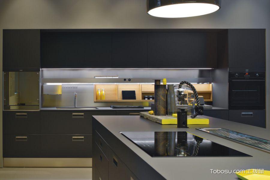 厨房黑色厨房岛台现代风格装修设计图片
