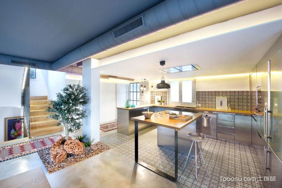 厨房灰色橱柜混搭风格装饰设计图片