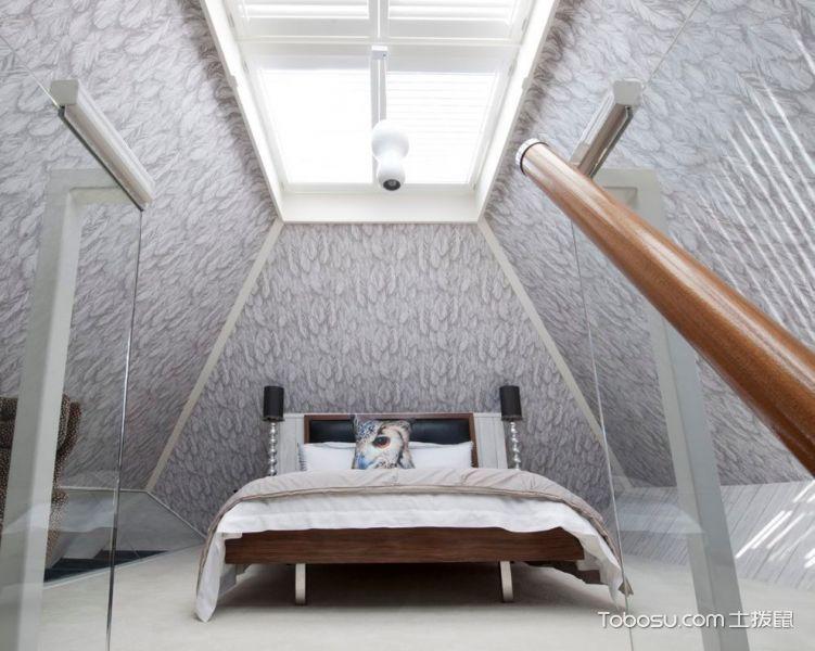 卧室灰色背景墙现代风格装潢设计图片