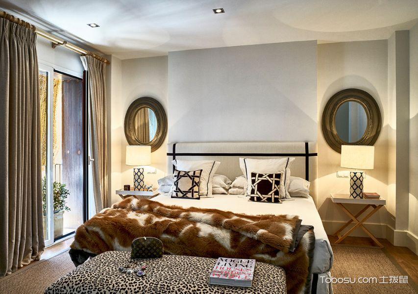 卧室灰色窗帘现代风格装饰图片
