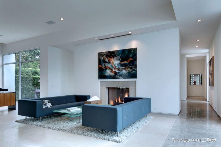 客厅蓝色沙发现代风格装潢图片