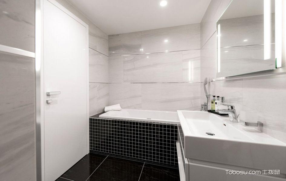 浴室白色洗漱台现代风格装潢效果图