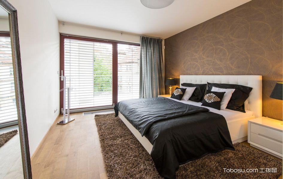 卧室咖啡色背景墙现代风格装饰图片