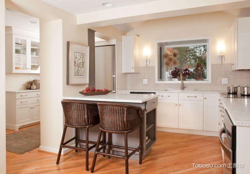 厨房白色厨房岛台美式风格装饰设计图片