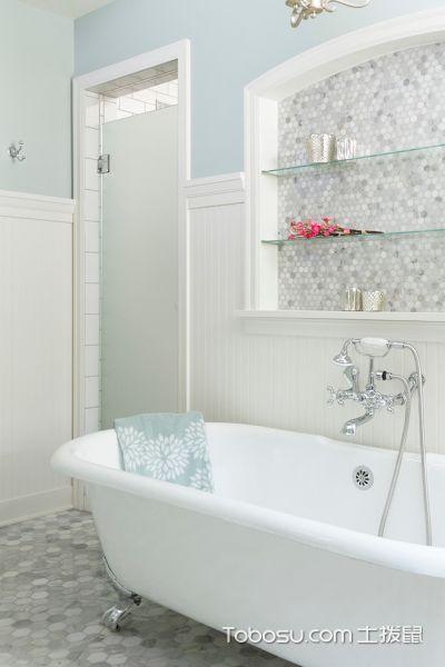浴室白色浴缸美式风格装潢效果图