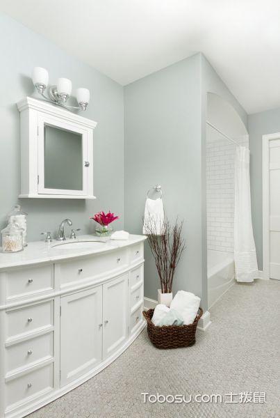 浴室白色洗漱台美式风格装饰设计图片
