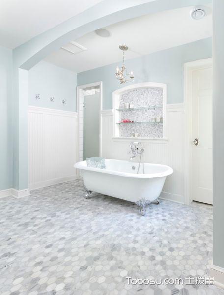 浴室白色浴缸美式风格装潢设计图片
