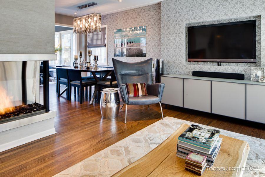 客厅灰色背景墙混搭风格装潢图片
