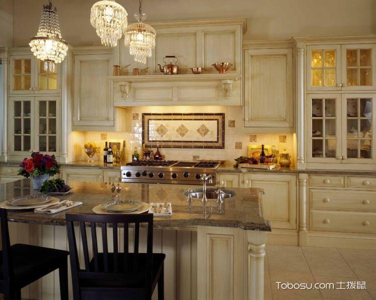 厨房米色厨房岛台美式风格装修设计图片