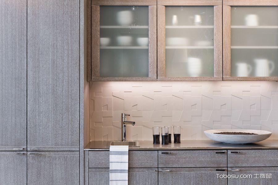 厨房灰色橱柜美式风格装饰设计图片