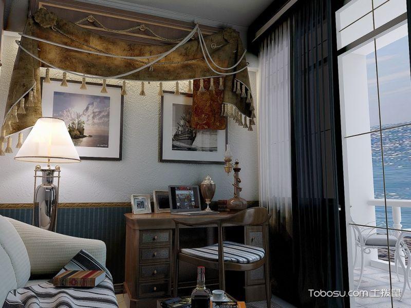 书房白色照片墙地中海风格装潢设计图片