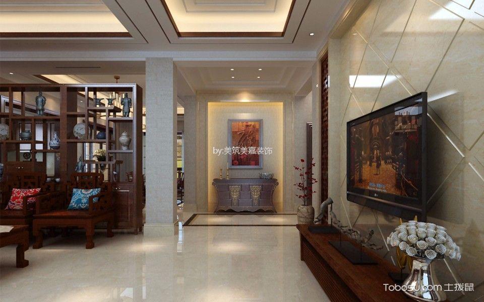 客厅红色博古架新中式风格装修设计图片