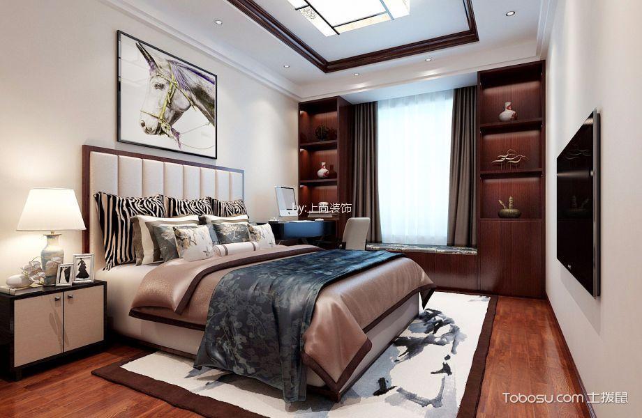 卧室蓝色床新中式风格装饰图片