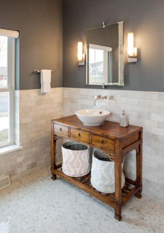 浴室洗漱台美式风格装潢图片