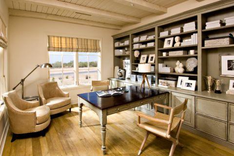 书房黄色窗帘地中海风格装修设计图片