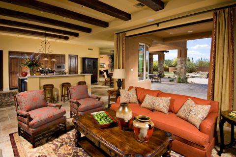 客厅黄色窗帘地中海风格装潢设计图片