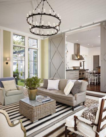 客厅灰色沙发美式风格装修效果图