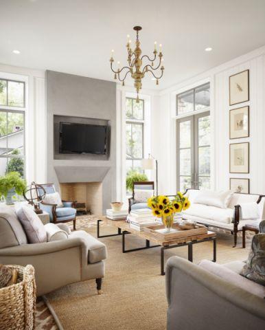 客厅灰色吊顶美式风格装修图片