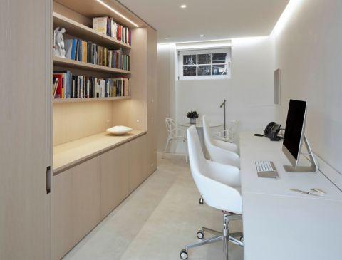 书房白色书桌现代风格装潢效果图