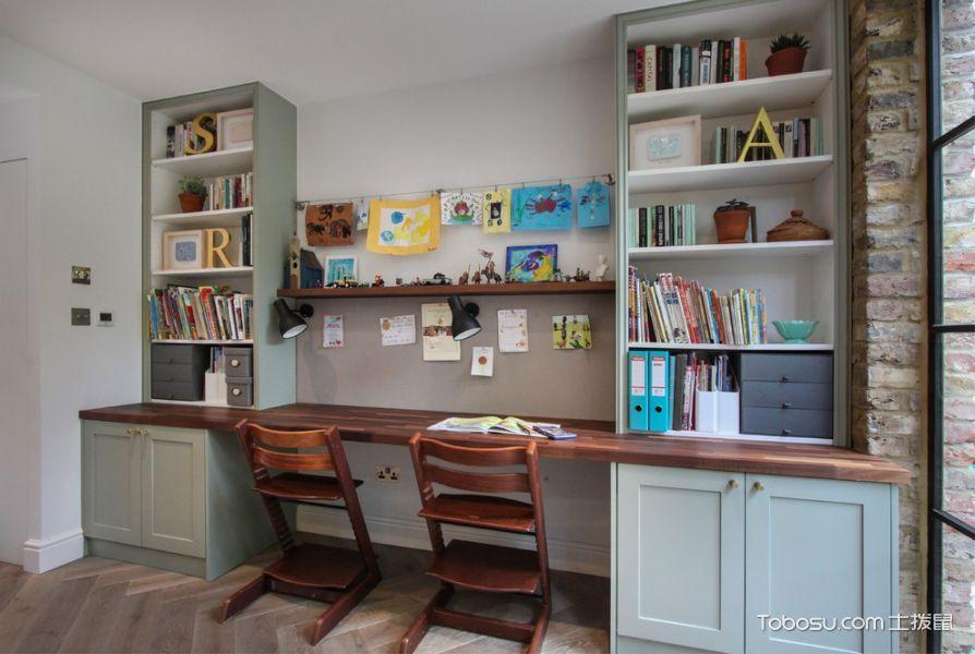 儿童房咖啡色书桌现代风格装饰设计图片