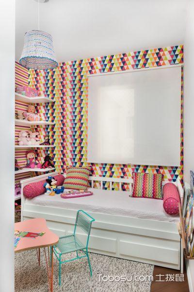 儿童房白色榻榻米混搭风格装潢效果图