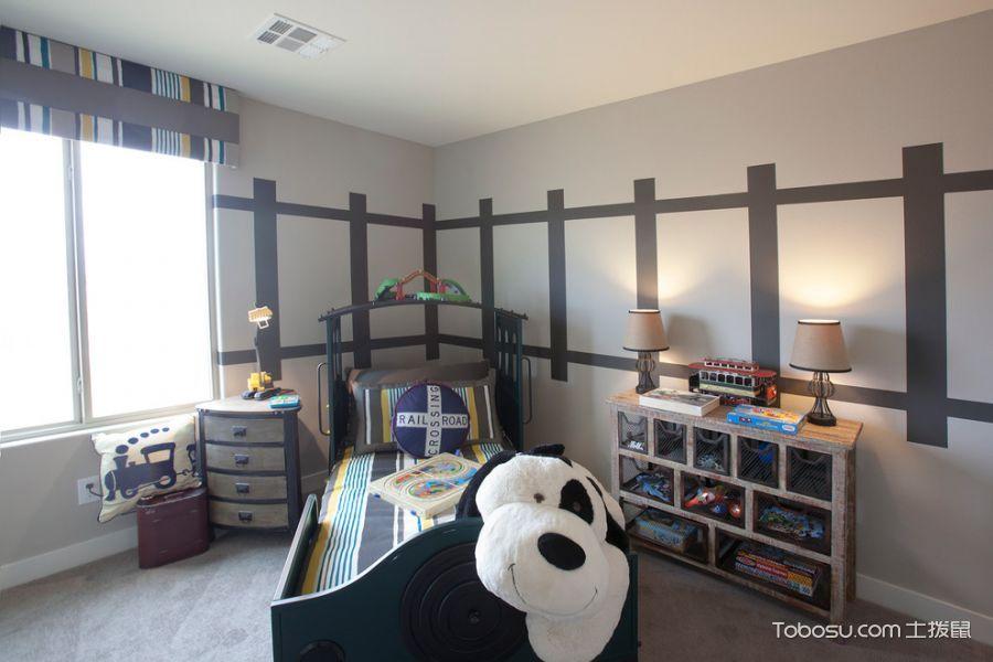 儿童房 窗帘_混搭风格公寓153平米装修图片