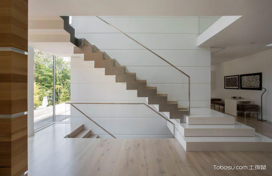玄关白色楼梯现代风格装潢图片