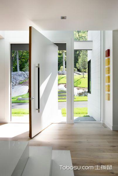 玄关白色背景墙现代风格装饰设计图片