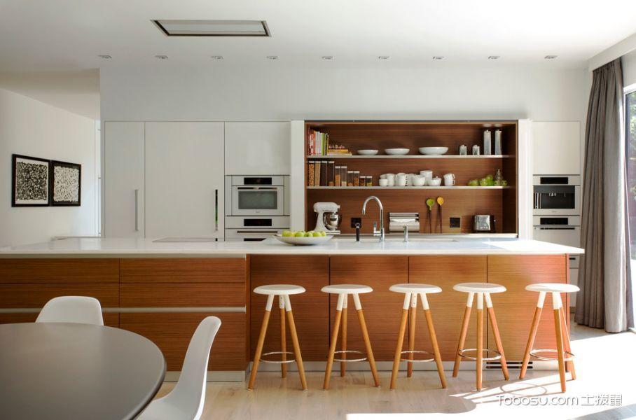 厨房咖啡色吧台现代风格效果图