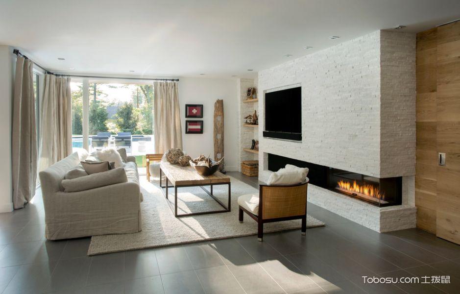 客厅白色窗帘现代风格装饰效果图