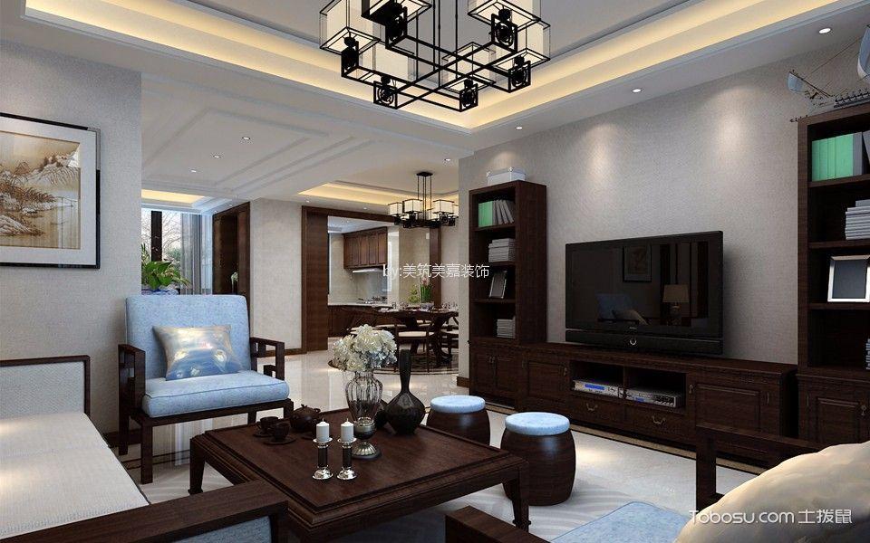 客厅米色灯具新中式风格装修图片