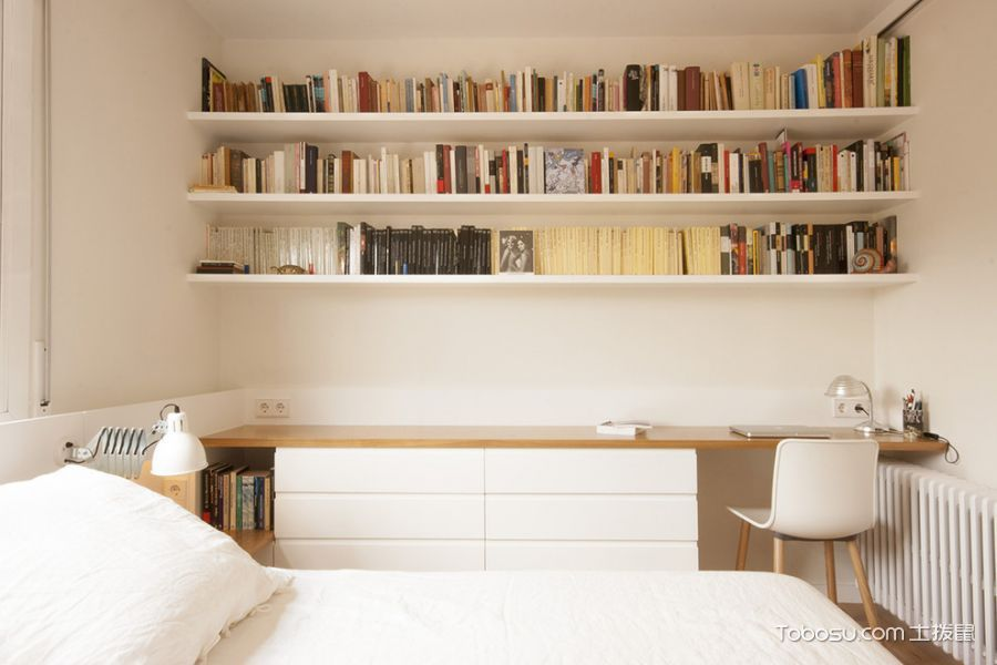 卧室白色书架北欧风格装饰图片