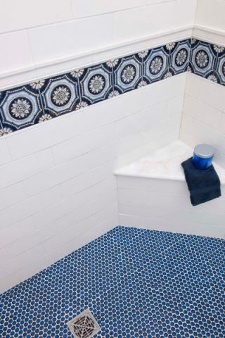 浴室地砖地中海风格装潢图片