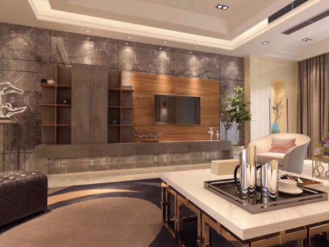 客厅灰色背景墙现代简约风格装修效果图