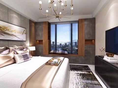 卧室灰色飘窗现代简约风格装饰效果图