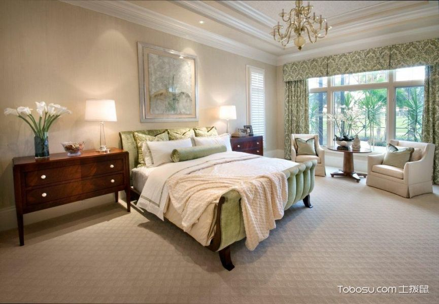 卧室美式风格效果图大全2017图片_土拨鼠大气时尚卧室美式风格装修设计效果图欣赏