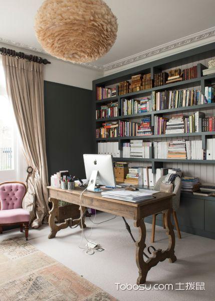 书房混搭风格效果图大全2017图片_土拨鼠唯美时尚书房混搭风格装修设计效果图欣赏