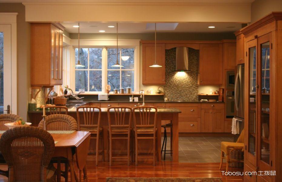 厨房美式风格效果图大全2017图片_土拨鼠美好清新厨房美式风格装修设计效果图欣赏