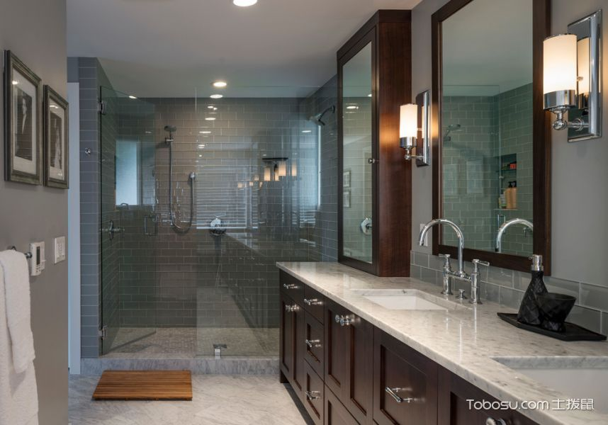 浴室咖啡色洗漱台现代风格装饰效果图