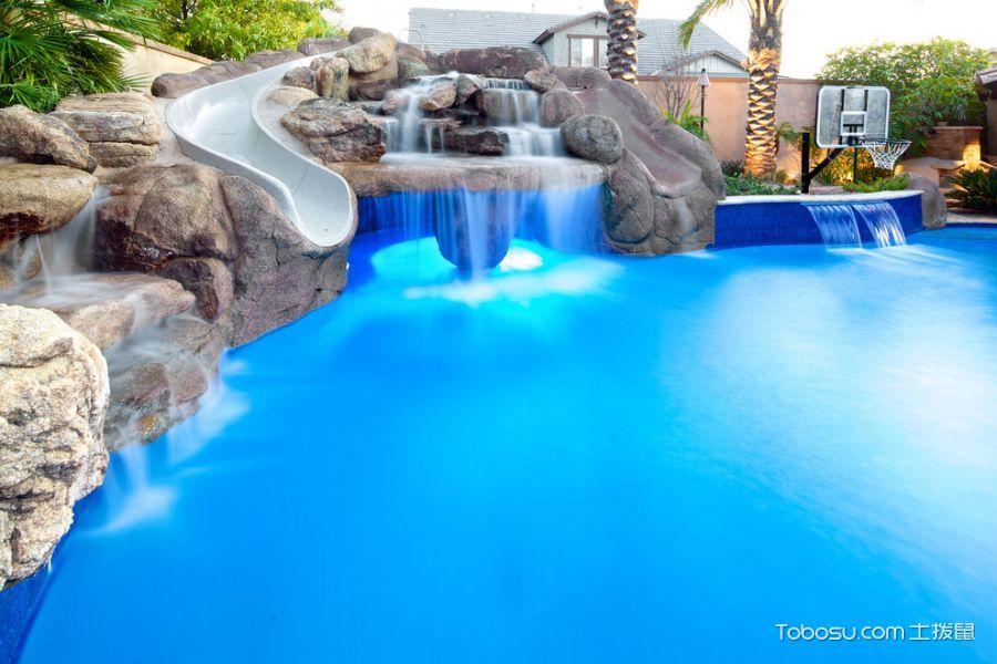 花园蓝色泳池地中海风格装修效果图