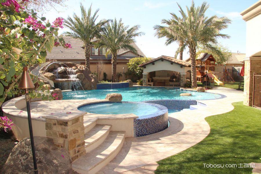 花园米色地板砖地中海风格装修设计图片