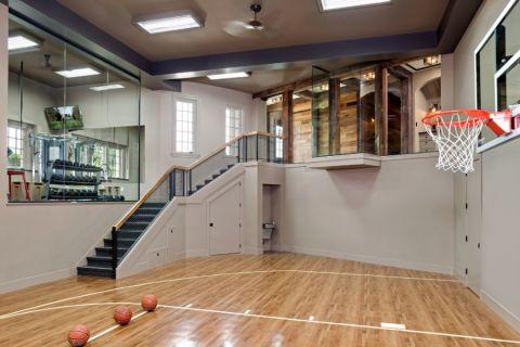 美式健身房背景墙装潢效果图