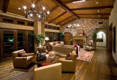 客厅黄色吊顶地中海风格装潢设计图片
