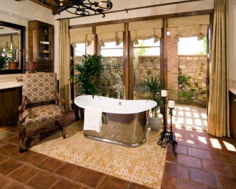 浴室黄色窗帘地中海风格装修图片