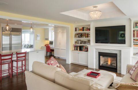 客厅白色博古架现代风格装潢图片